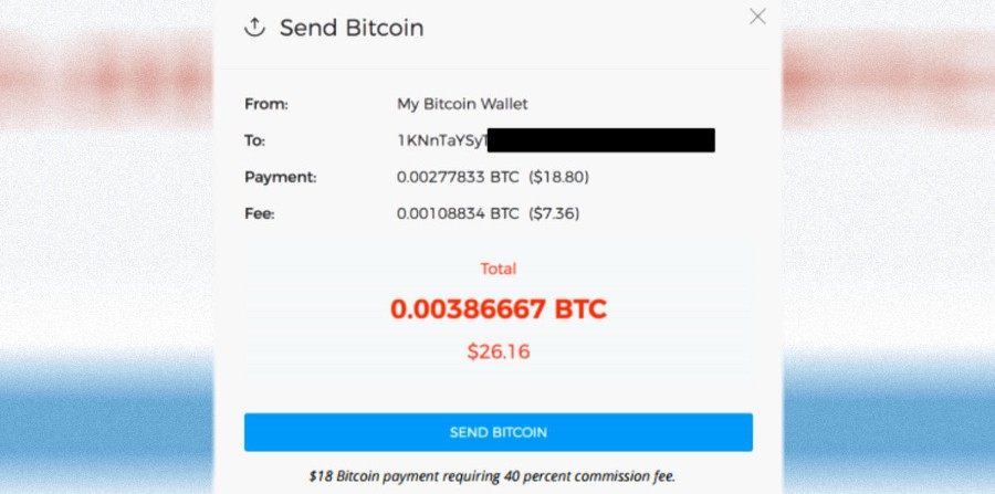 40% bitcoin transaction fee