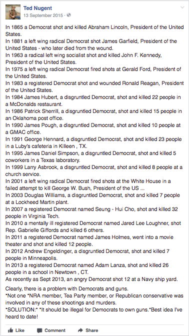 Ted Nugent Democrats Commit Mass Shootings