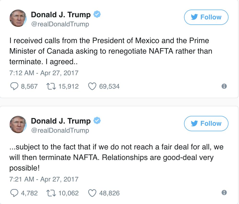 Trump NAFTA Tweets