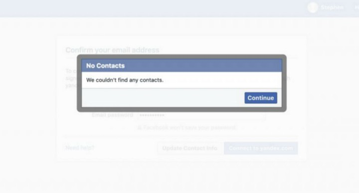 Facebook Email contacts