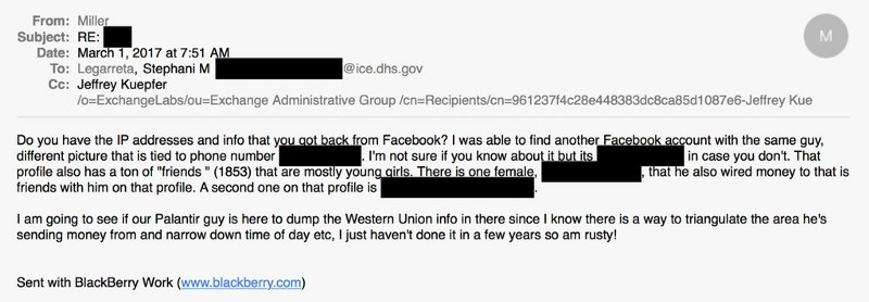 Facebook giving private data to ICE
