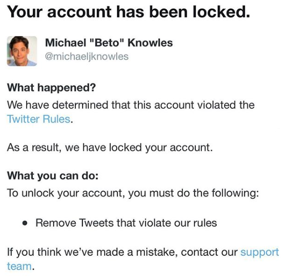 Knowles Twitter Account Locked