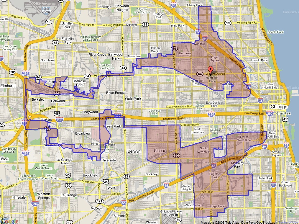 Gerrymandering Illinois District Map