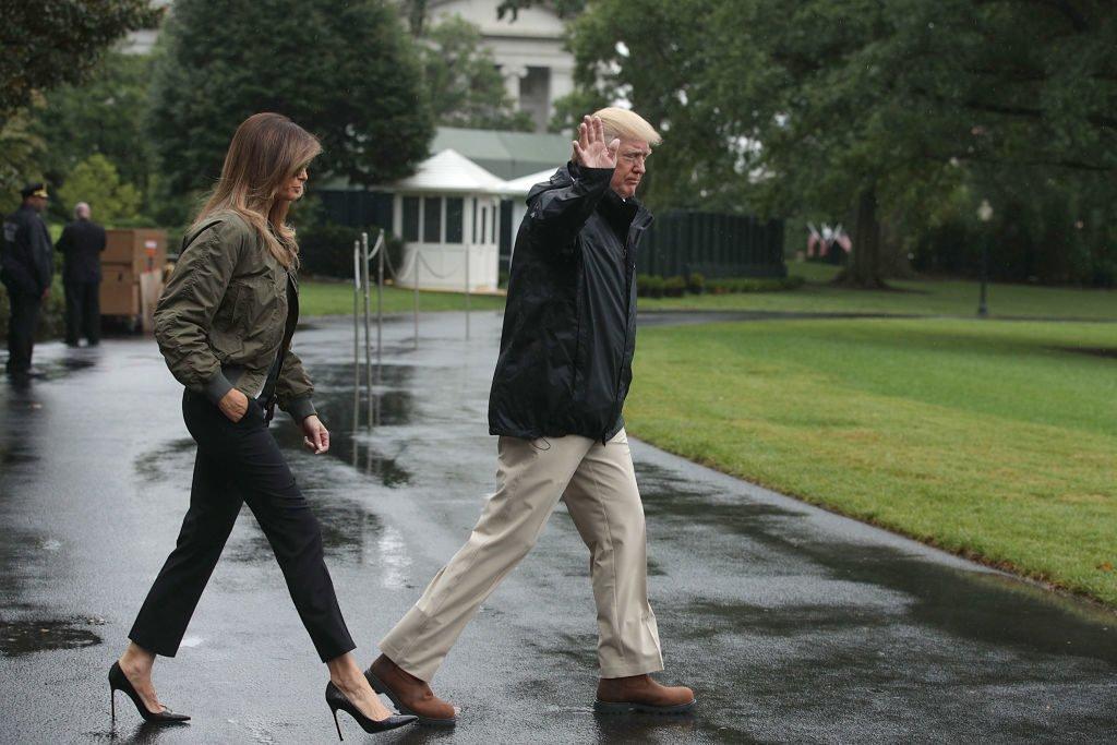 Melania heels Hurricane Harvey