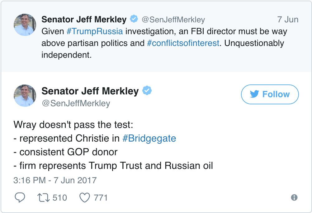 Jeff Merkley Chris Wray Tweet