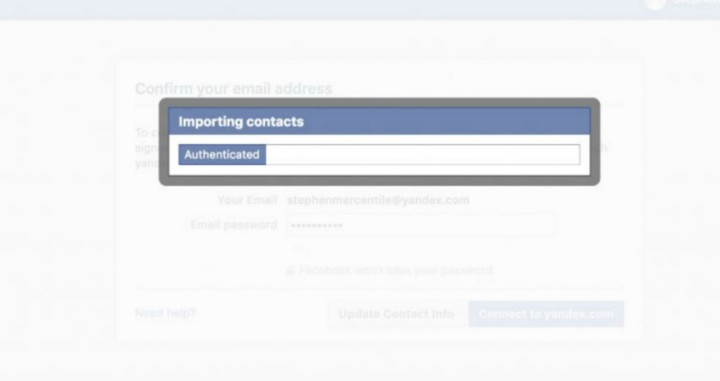 Facebook email contact verification