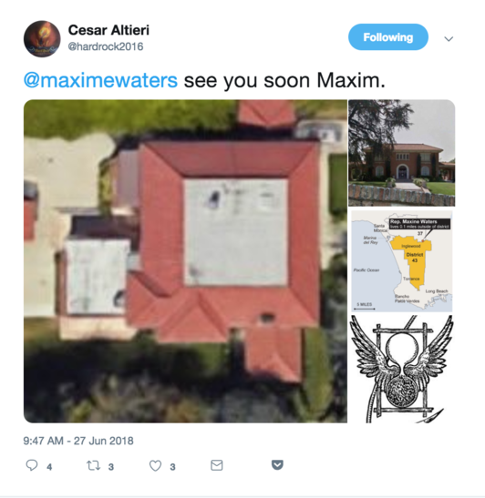 Maxine Waters Bomb Threat Tweet