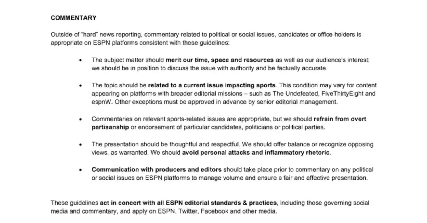 ESPN Free Speech Guidelines