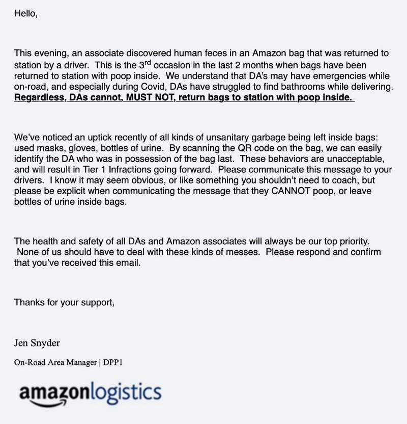 Amazon email bathroom