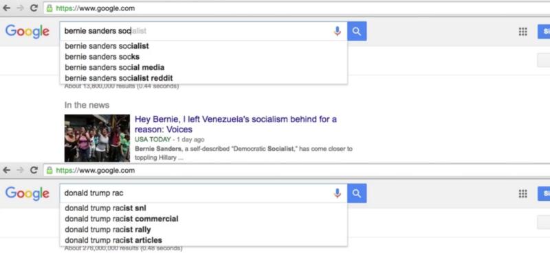 Bernie Sanders and Trump google search bias