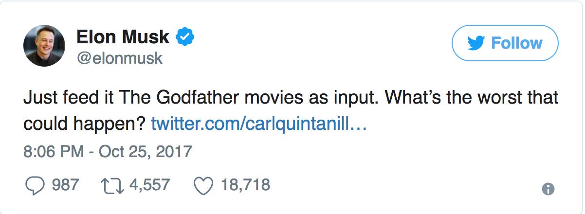 Elon Musk AI Tweet