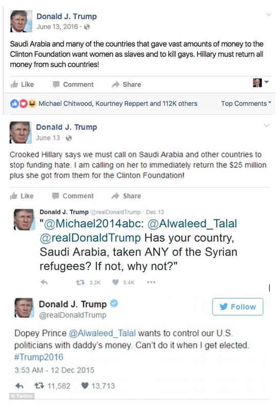Trump Saudi tweets hypocrite
